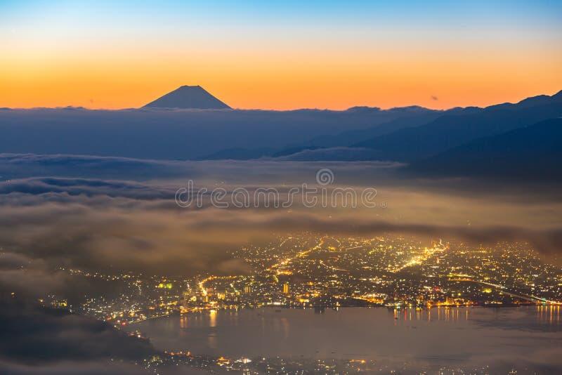 Mount Fuji Sunrise. Aerial Mount Fuji with Suwako Lake sunrise Takabochi royalty free stock photo
