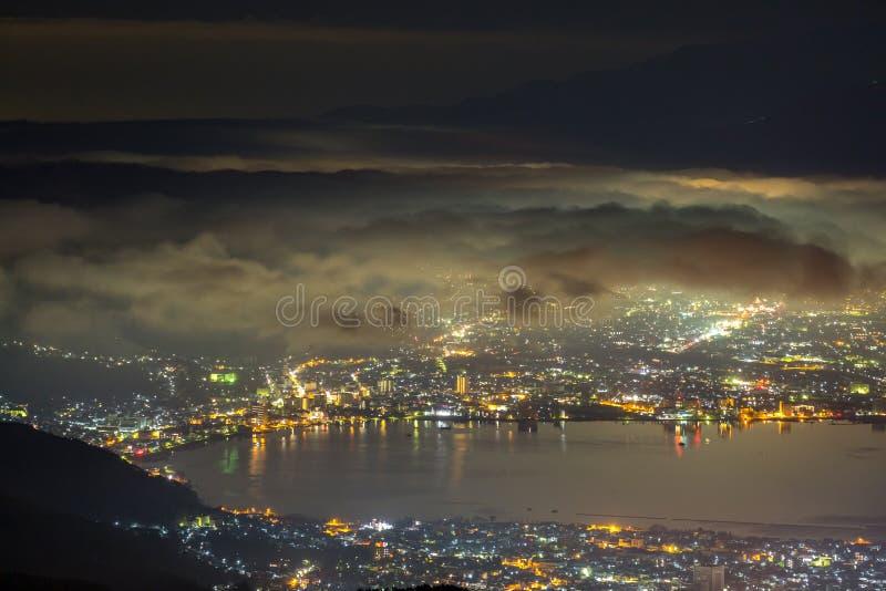 Mount Fuji Sunrise. Aerial Mount Fuji with Suwako Lake sunrise Takabochi royalty free stock photography