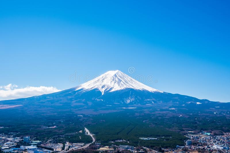 Mount Fuji view from Mt. Fuji Panorama Rope way, commonly called Fuji san in Japanese, Mount Fuji`s exceptionally symmetrical con stock image