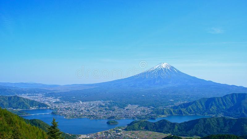 Mount Fuji which is viewed from Shindo pass in Yamanashi, Japan stock photography