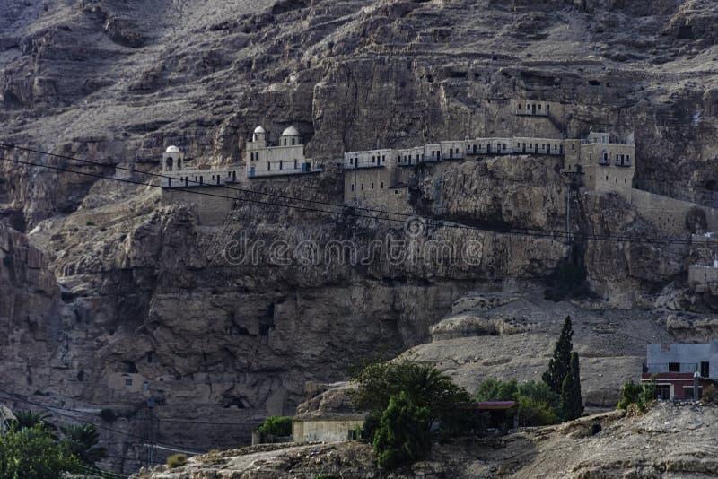 Greek monastery of temptation, near jericho city. Jordan Valley, Palestinian West Bank stock photos
