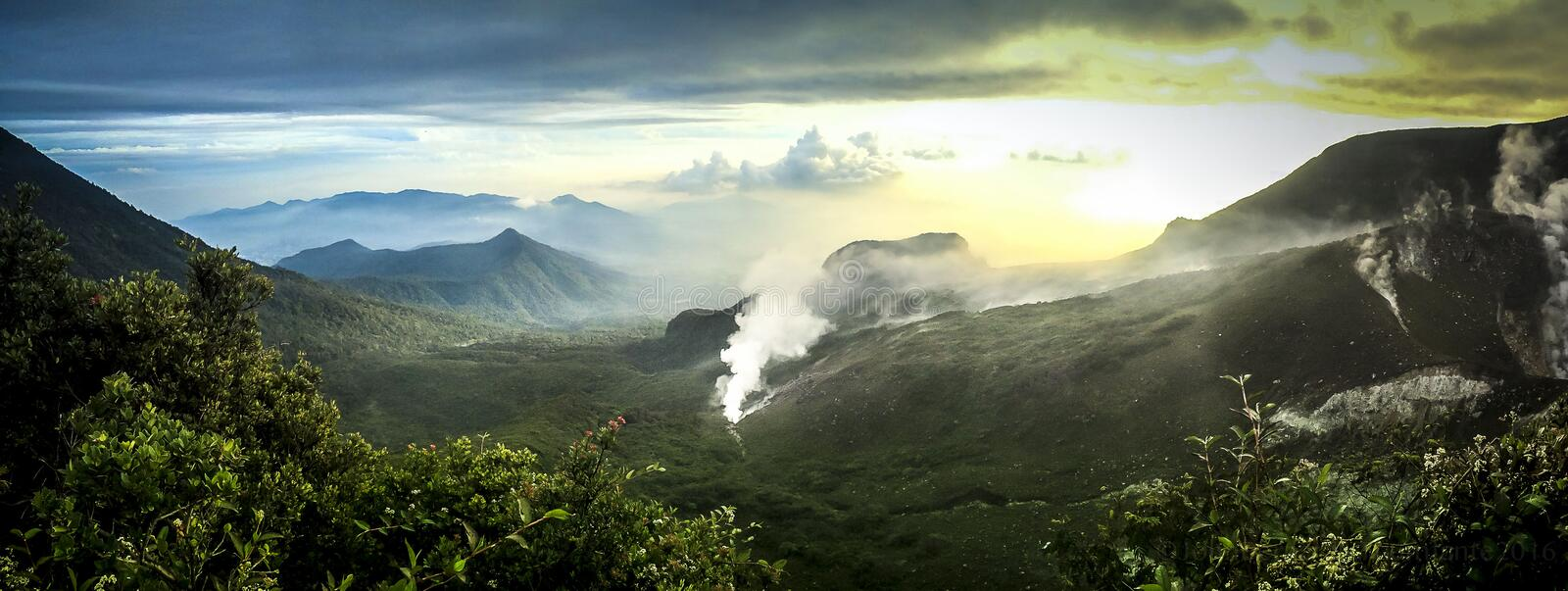 Mount Guntur. Or Gunung Guntur is an active stratovolcano in western Java. It is part of a complex of several overlapping stratovolcanoes about 10 km northwest stock photography
