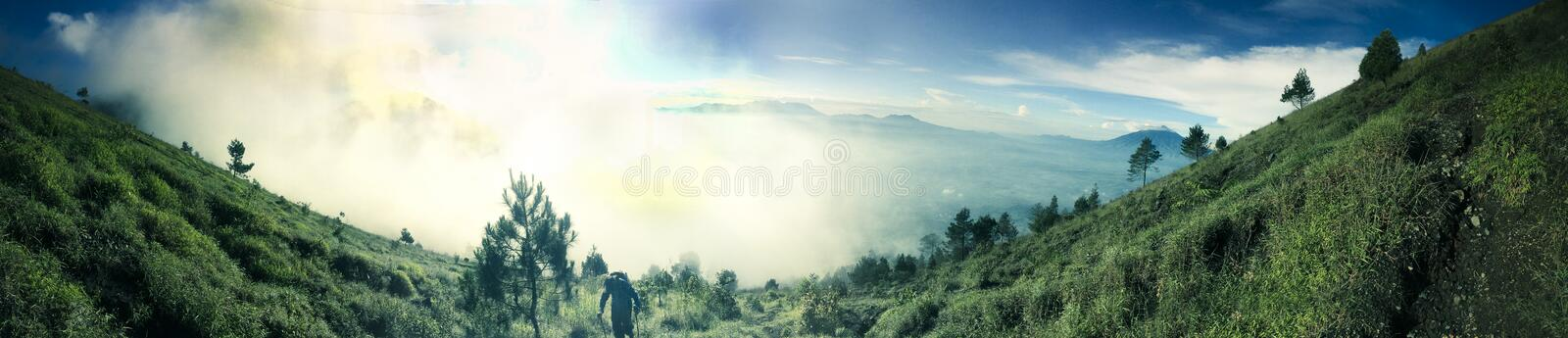 Mount Guntur sunrise. Mount Guntur or Gunung Guntur is an active stratovolcano in western Java. It is part of a complex of several overlapping stratovolcanoes stock photos
