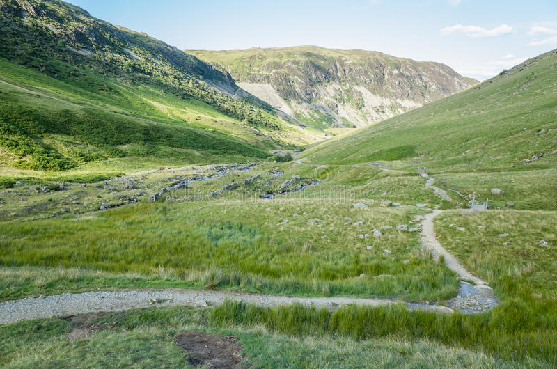 Mount Helvellyn, 950 metres high above Lake Ullswater. Path to and from mount Helvellyn, 950 metres high above Lake Ullswater, Lake District, Cumbria, England royalty free stock photography