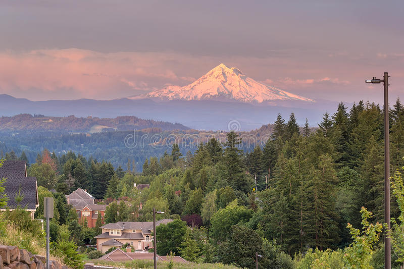Mount Hood Evening Alpenglow at Happy Valley royalty free stock image
