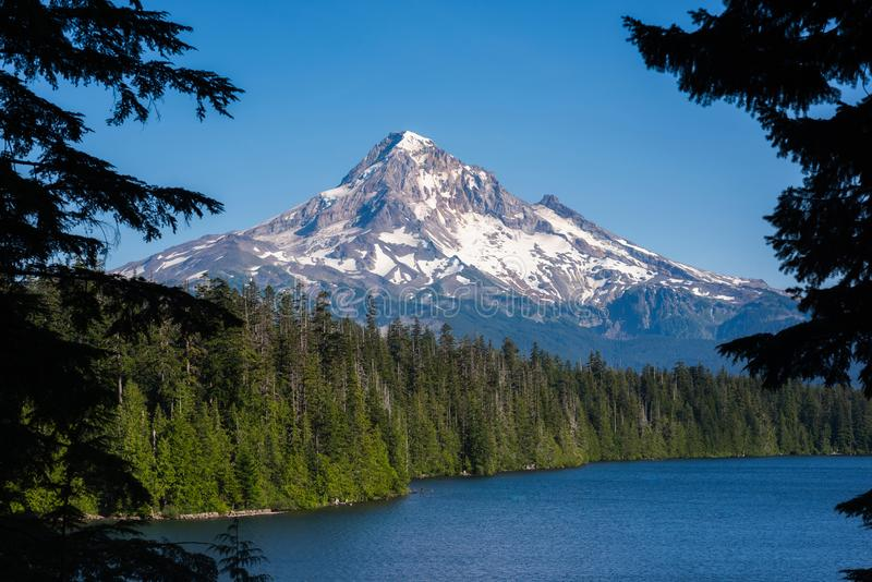 Mount Hood from Lost Lake in Oregon stock images