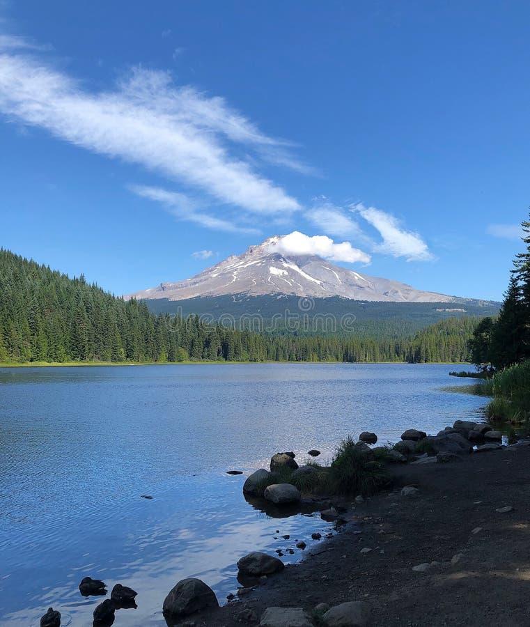 Mount Hood Oregon Lake Trillium Vista Landscape Lake Shore and Mountains stock photos