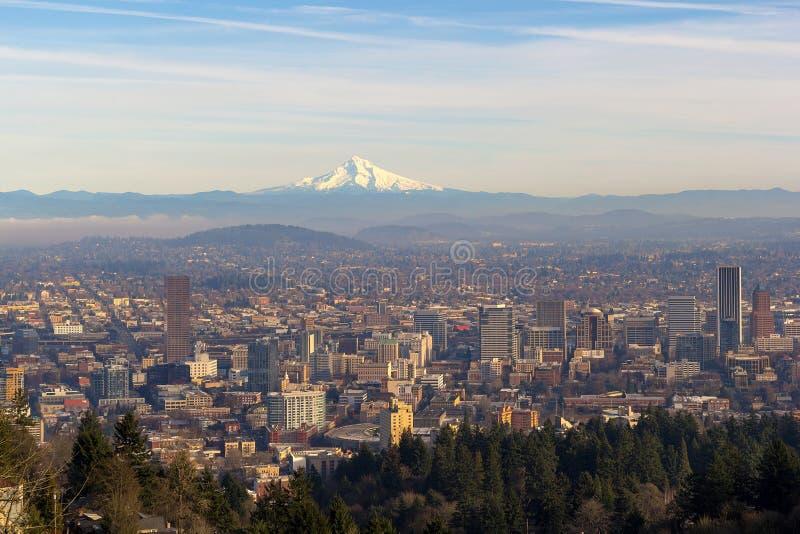 Mount Hood over City of Portland Oregon royalty free stock photos