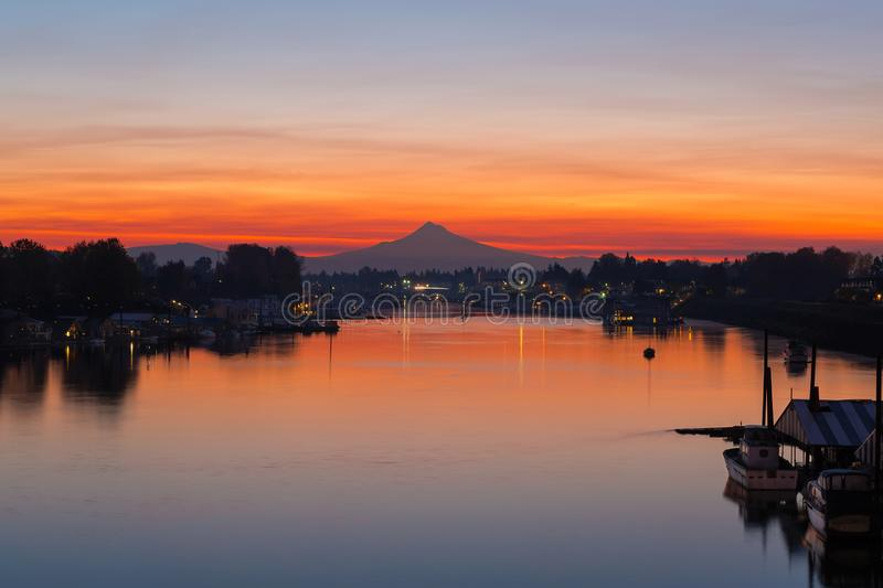 Mt Hood over Columbia River at Dawn in Oregon. Mount Hood over Columbia River Border Crossing by Hayden Island Oregon during early morning dawn sunrise royalty free stock photos