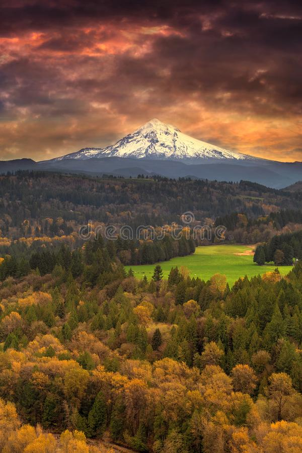 Mount Hood at Sandy River Valley in Fall Oregon USA. Mount Hood over Sandy River Valley in Fall Season during Sunrise Oregon United States America stock photography