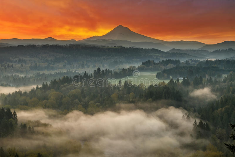 Mount Hood and Sandy River Valley Sunrise in Oregon stock images