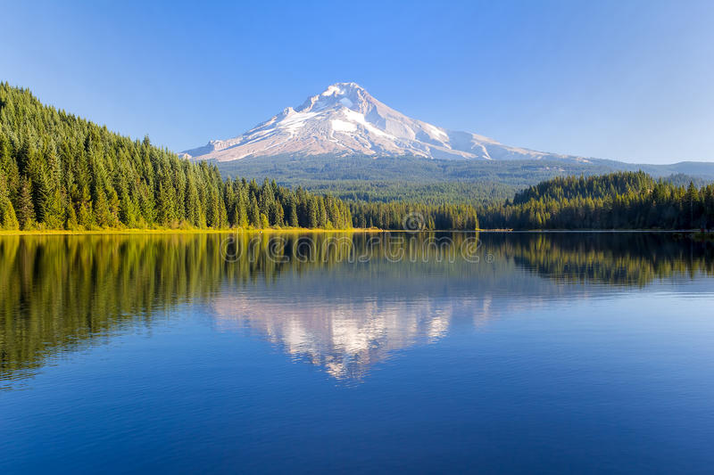 Mount Hood on a Sunny Day in Oregon with water reflection royalty free stock photography