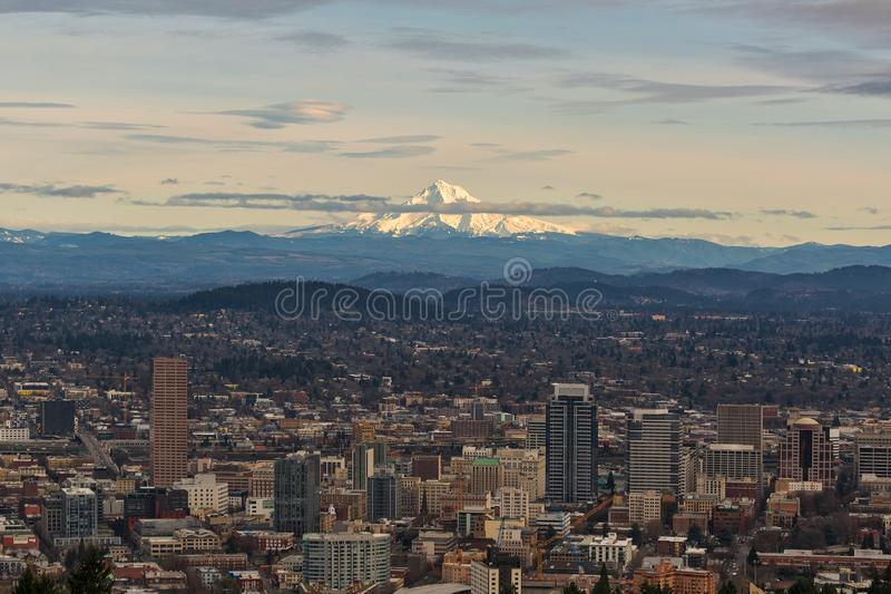 Mount Hood View over Portland Cityscape. Mount Hood view over downtown Portland cityscape in the afternoon during winter royalty free stock photo