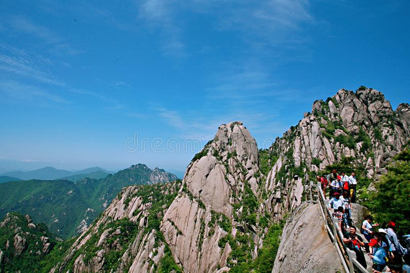 Mount Huangshan. Is located in Huangshan City, south of Anhui Province, China. There are 72 peaks. The Lianhua peak of the main peak is 1864 meters above sea stock photos