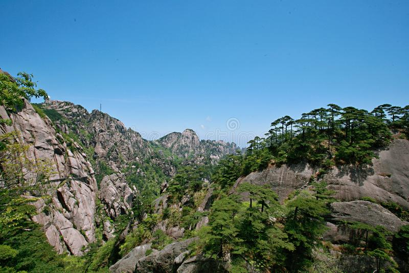 Mount Huangshan. Is located in Huangshan City, south of Anhui Province, China. There are 72 peaks. The Lianhua peak of the main peak is 1864 meters above sea stock images