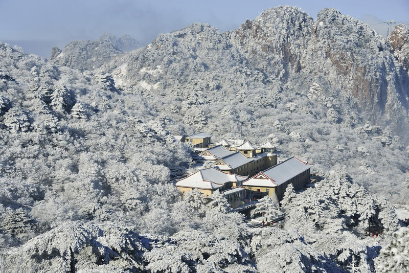 Mount Huangshan snow stock image