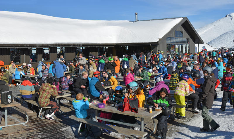 Mount Hutt Ski Field at Lunch Time, New Zealand royalty free stock images