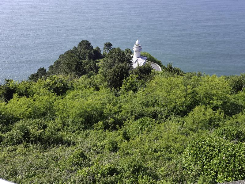 Mount igueldo lighthouse seen from above stock images
