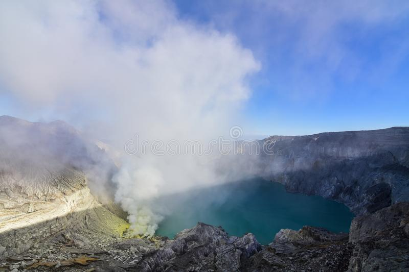 Mount. Ijen view point in the morning stock photos