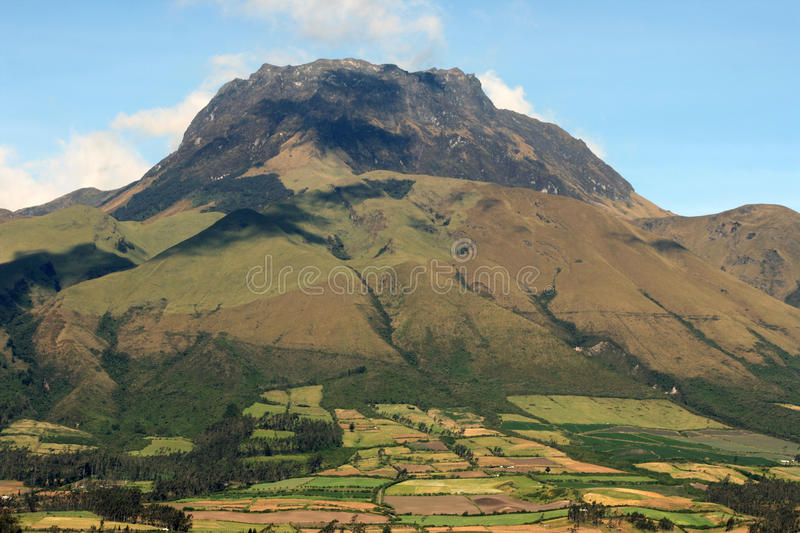 Mount Imbabura near Cotacachi, Ecuador. The dormant Volcano, Mount Imbabura, in the Andes Mountains near Cotacachi Ecuador under a sunny sky stock images