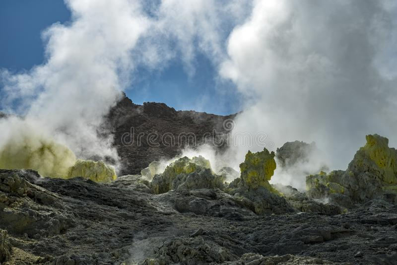 Mount Io-zan, naked mountain, Hokkaido, Japan. Mt. Iozan is a volcano with the highest concentration of Sulphur in Japan. The mountain was referred to as `naked royalty free stock image