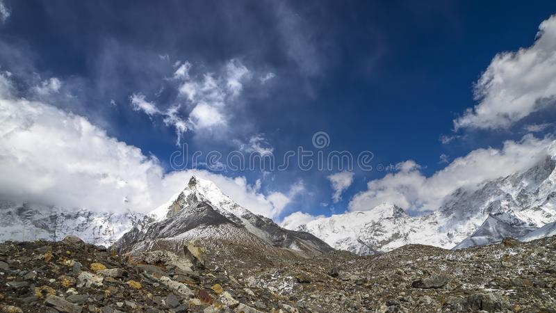 Mount Island Peak, 6189 m in Everest Region of Himalayas. stock photos
