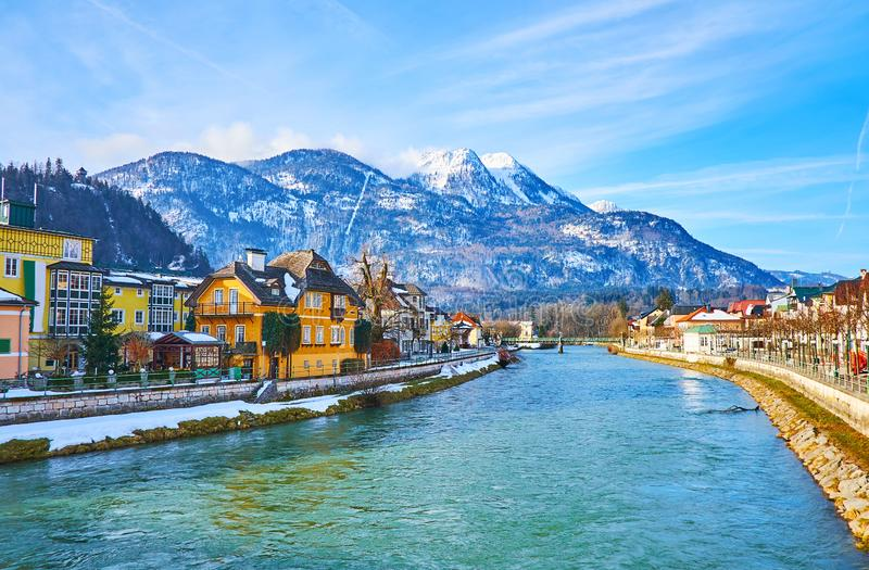 Mount Katrin from Bad Ischl, Salzkammergut, Austria. Enjoy the snowbound Mount Katrin from the old town of Bad Ischl, divided by Traun river, Salzkammergut royalty free stock photography