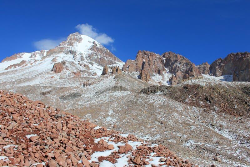 Mount Kazbek (Mkinvartsveri) in september (Georgia) royalty free stock image