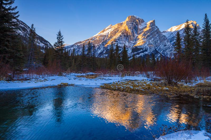 Mount Kidd, a mountain in Kananaskis in the Canadian Rocky Mountains, Alberta and the Kananaskis River in winter. Mount Kidd, a mountain in Kananaskis in the royalty free stock photography