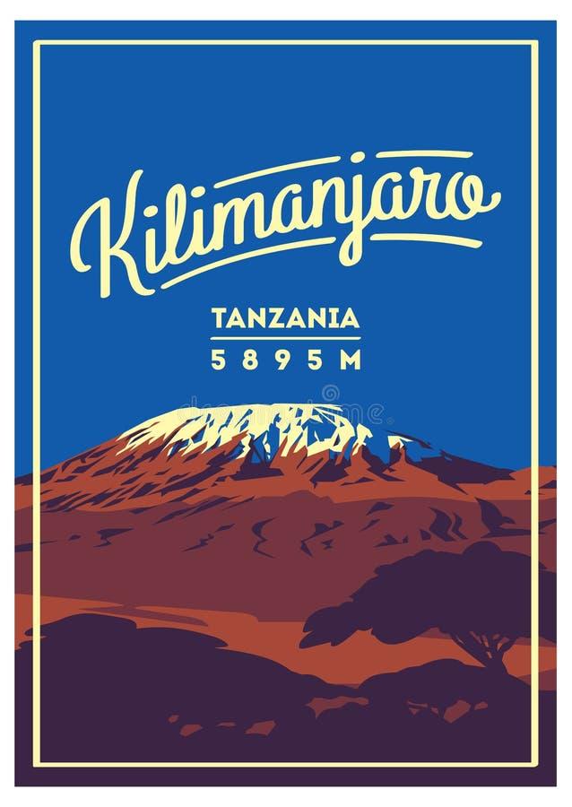 Mount Kilimanjaro in Afrika, Tansania Abenteuerplakat im Freien Höchster Vulkan auf Erdillustration vektor abbildung