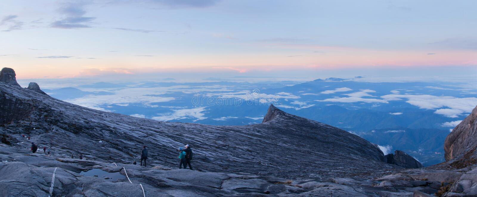 Mount Kinabalu Mountain Peak Sunrise Panorama View royalty free stock image