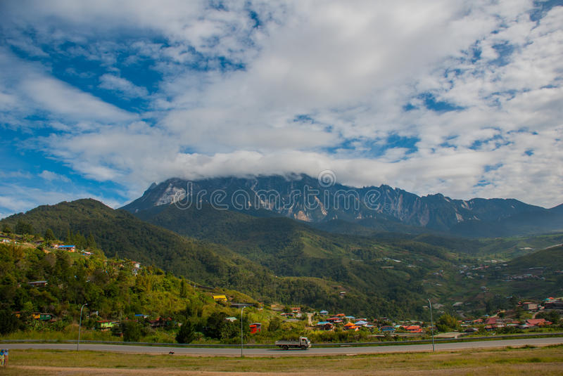 Mount Kinabalu view, villages at the foothill of the mountain. Sabah, Borneo, Malaysia stock images