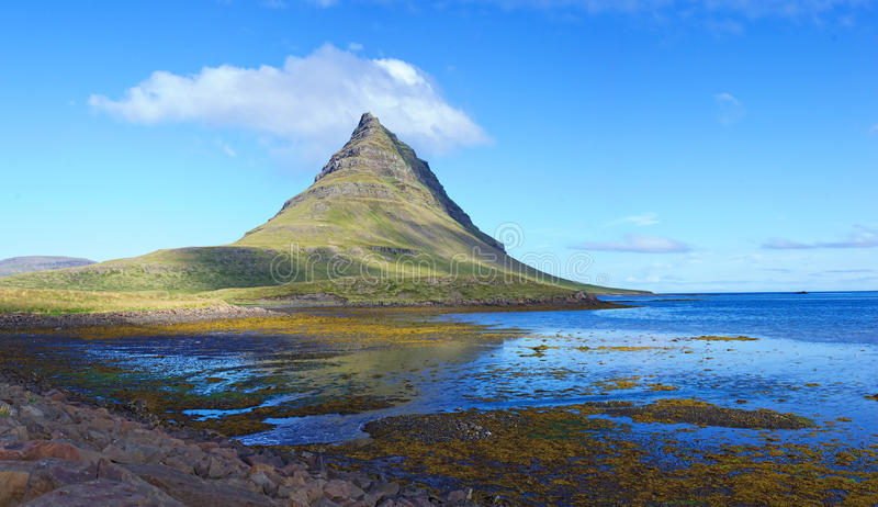Mount kirkjufell east face from ... stock photo