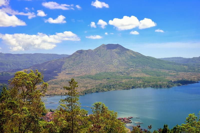 Mount and lake Batur. In Bali, Indonesia stock photos
