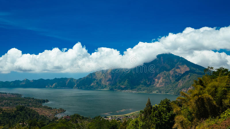 Mount and Lake Batur. In Bali - Indonesia royalty free stock photos