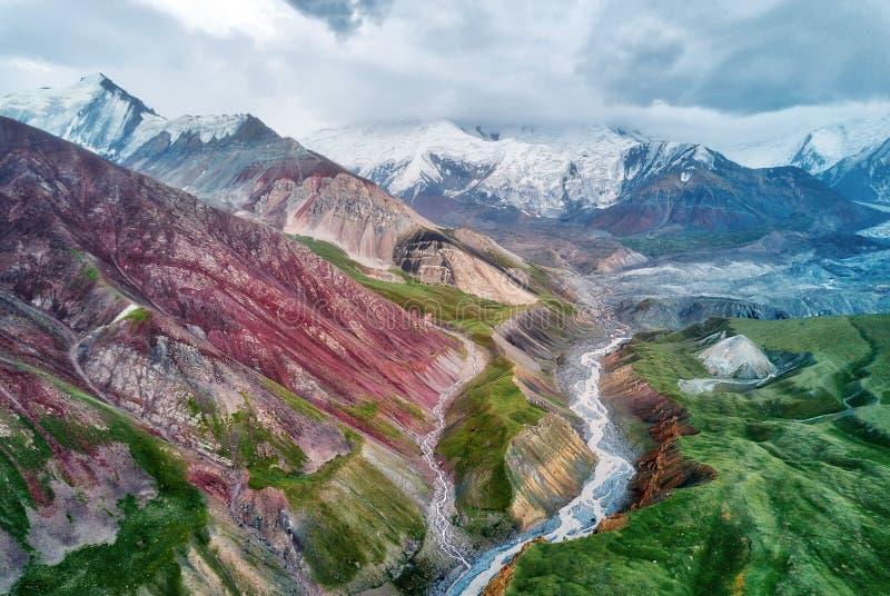 Mount Lenin seen from Basecamp in Kyrgyzstan taken in August 2018 royalty free stock photos