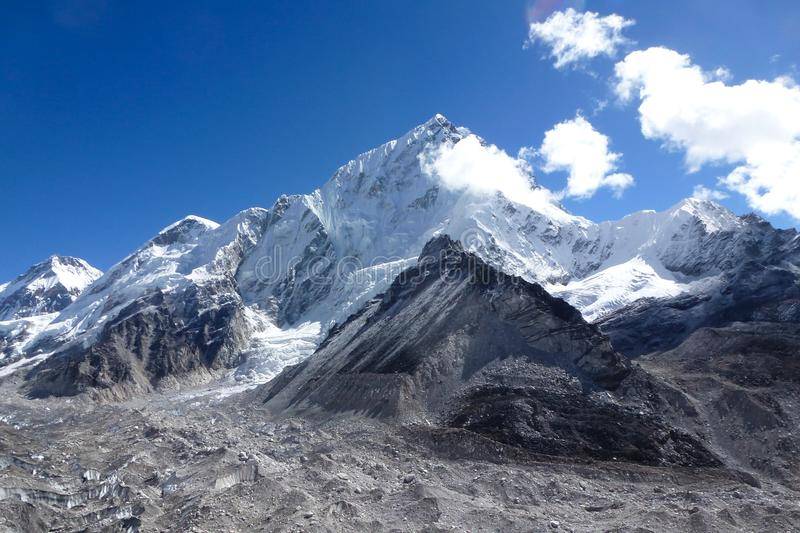 Mount Lhotse, seen from Gorak Shep, with blue sky and big clouds, Everest Base Camp trek, Nepal royalty free stock photography