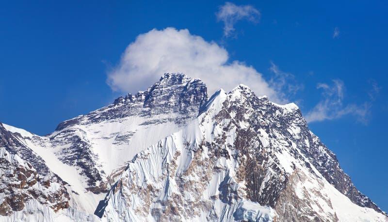 Mount Lhotse. Top of Mount Lhotse from Gokyo valley with southern saddle mount Everest, way to Everest base camp, Nepal Himalayas mountains royalty free stock photo