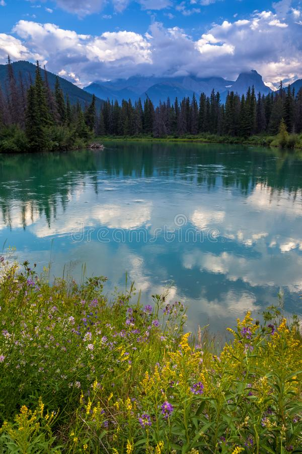 Mount Lougheed and the Bow River in the Canadian Rocky Mountains near Canmore, Alberta royalty free stock photo