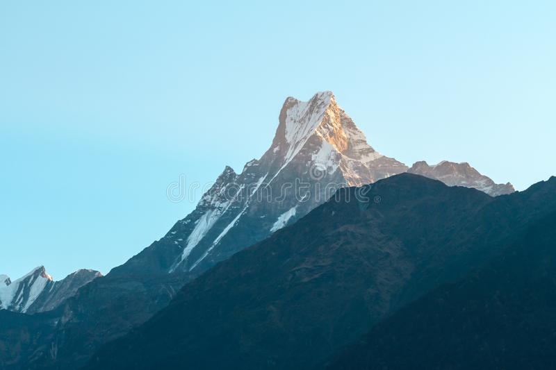 Mount Machapuchare Fishtail on sunrise on the way to Chomrong. Annapurna Conservation Area, Himalaya, Nepal.  royalty free stock image