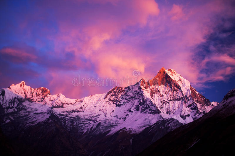Mount Machapuchare (Fishtail) at sunset, Nepal. Dramatic sunset and Mount Machapuchare (Fishtail), view from Annapurna base camp. Machapuchare or Machhaphuchhare royalty free stock photo