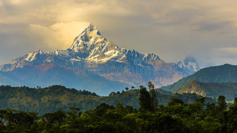 Mount machapuchare 6993 m in nepal stock photo image for Peak fishing times