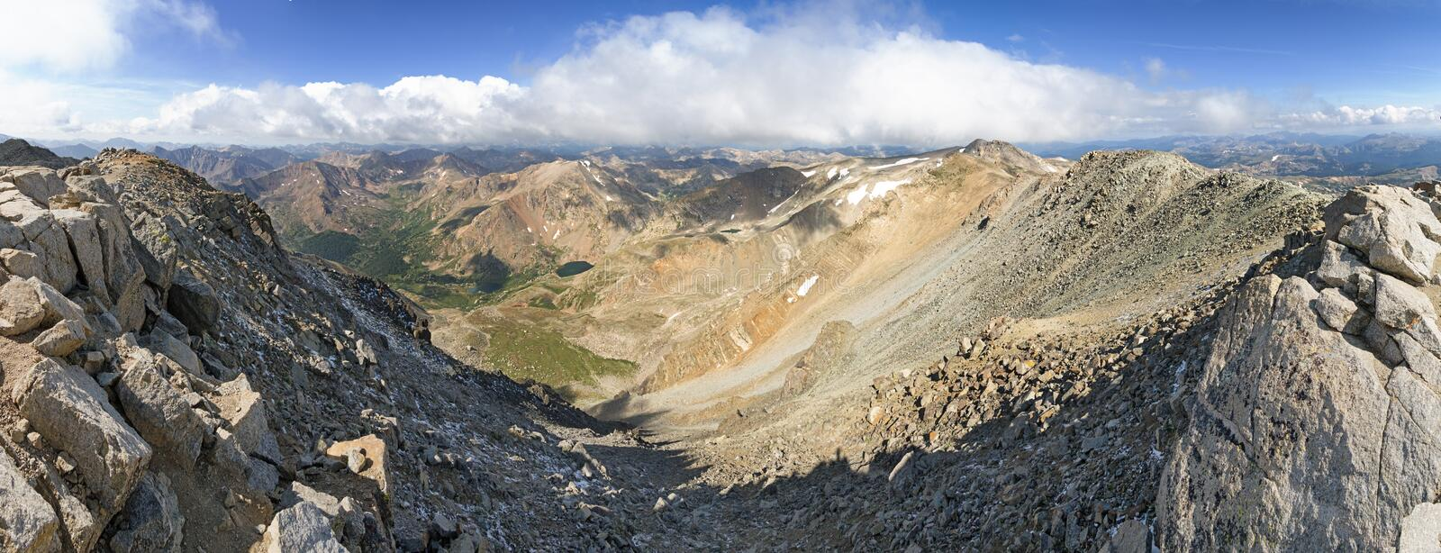 Mount Massive Mountain Summit Panorama. Panorama from the Colorado fourteener mountain summit of Mount Massive to the west stock photography