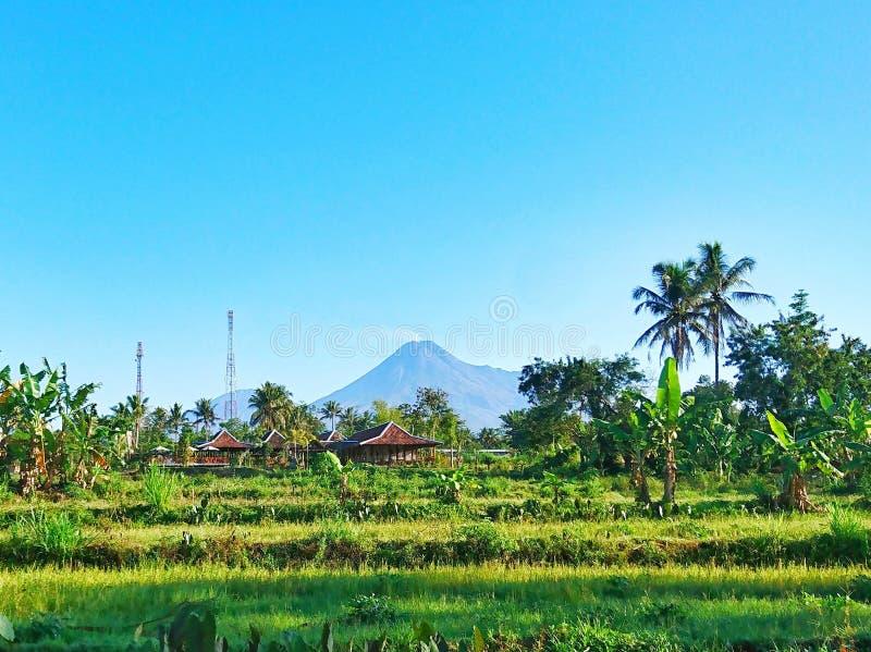Mount Merapi from Balong Donoharjo, Ngaglik, Yogkakarta, Indonesia royalty free stock photos