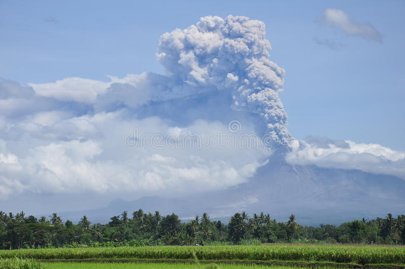 Mount Merapi eruption stock photo