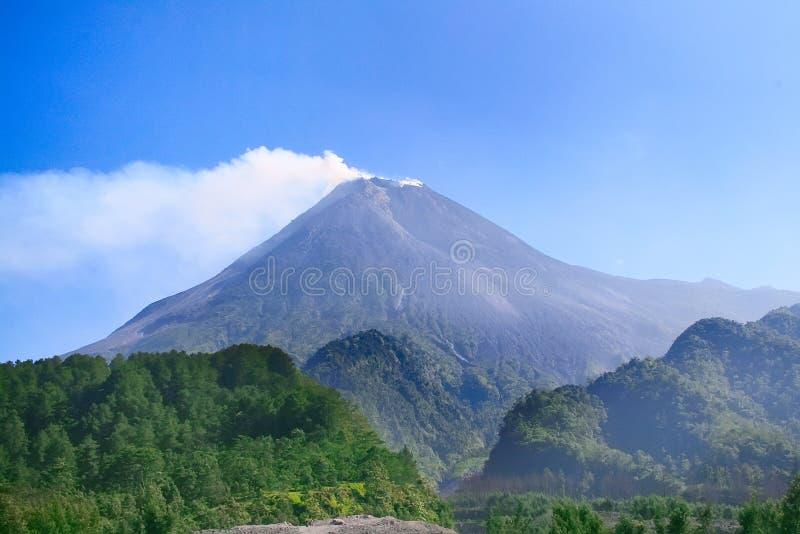 Mount volcano Merapi in Yogyakarta, Indonesia stock photo