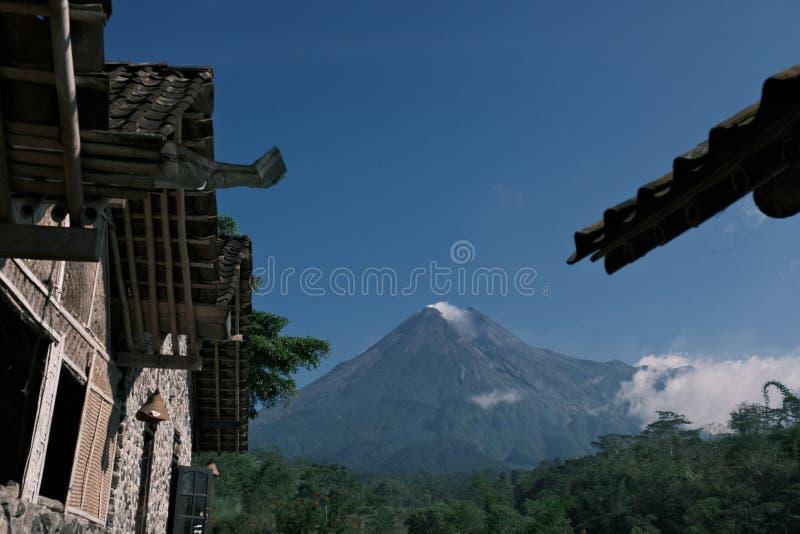 Mount Merapi Yogyakarta Central Java Indonesia as seen from Cangkringan Sleman Yogyakarta stock photos