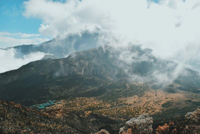 Mount Meru, Arusha National Park. Mount Meru and Saddle Hut viewed from little Meru, Arusha National Park royalty free stock photo