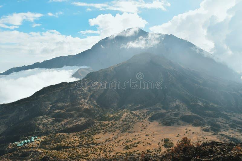 Mount Meru, Arusha National Park. Mount Meru viewed from the summit of Little Meru, Arusha National Park stock images