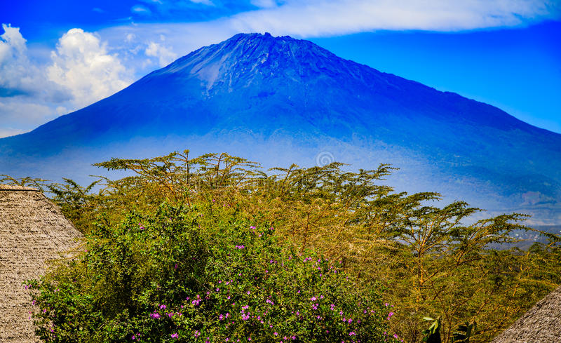 Mount Meru in Tanzania. Mount Meru is an active stratovolcano located 70 kilometres (43 mi) west of Mount Kilimanjaro in the nation of Tanzania. At a height of 4 stock photos
